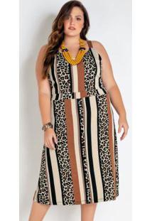 Vestido Plus Size Onça E Marrom Midi Com Botões