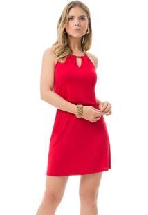 Vestido Com Alças Correntes Vermelho Lunender