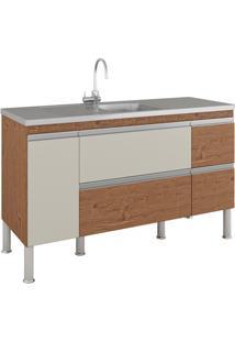 Gabinete Para Cozinha Prisma 86X144Cm Amêndoa E Off White