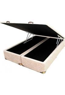 Cama Box Baú Queen Size Cor Master Gold Em Corino Com Pistão A Gás - 158X198X44