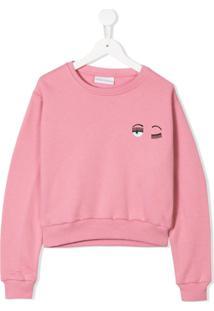 Chiara Ferragni Kids Wink Face Sweatshirt - Rosa