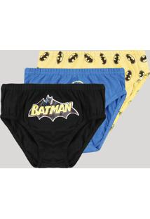 Kit De 3 Cuecas Infantis Batman Multicor