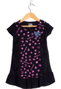 Vestido Infantil Beijinho Preto - 4