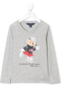 Ralph Lauren Kids Camiseta 'Polo Bear' - Cinza