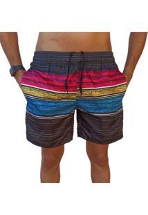 Bermuda Short Listrado Colorido Moda Praia Relaxado Estampado - Kanui