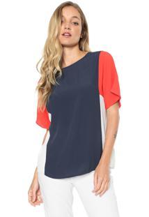 Camiseta Forum Color Block Azul-Marinho/Vermelho - Kanui
