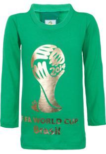Camiseta Licenciados Copa Do Mundo Fifa Ouro Infantil Verde