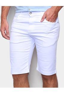 Bermuda Sarja Ecxo Color Masculina - Masculino-Branco