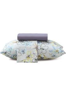 Jogo De Cama Floral New Confort Queen Size- Branco & Azualtenburg