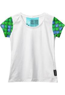 Camiseta Baby Look Feminina Algodão Estampa Estilo Conforto - Feminino-Branco