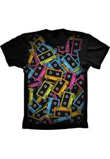 Camiseta Baby Look Lu Geek Fita K7 Preto - Tricae