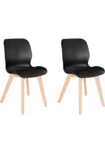 Conjunto Com 2 Cadeiras Dani Tulipa Base Madeira Preto