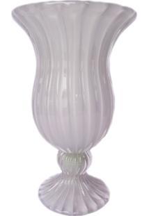 Vaso De Cristal Murano Cinza 16X24Cm