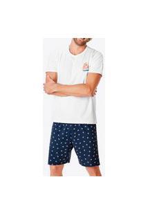 Pijama Masculino Curto Malwee 1000083418 Branco