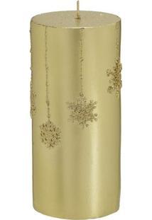 Vela Decorativa Em Relevo- Dourada- 15Xã˜6,5Cm- Mmabruk