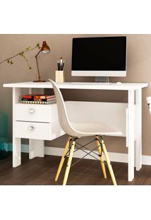 Mesa Para Computador Com 2 Gavetas 423 - Movelbento - Branco