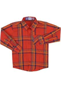 Camisa Mnaga Longa Infantil Rodeo Western Xadrez Masculina - Masculino-Vermelho