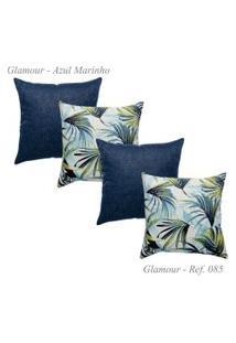 Kit Com 4 Capas De Almofadas Glamour Jacquard Marinho 85