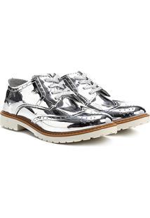 Sapato Klin Oxford Infantil - Feminino-Prata