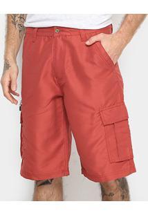 Bermuda Gajang Bolso Lateral Masculina - Masculino-Vermelho
