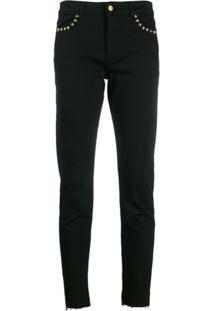 Escada Sport Calça Jeans Skinny Com Barra Desfiada - Preto