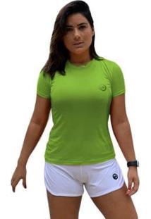 Camiseta Baby Look Performance - Feminino-Verde Limão