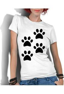 Camiseta Criativa Urbana Engraçadas 4 Patas - Feminino-Branco
