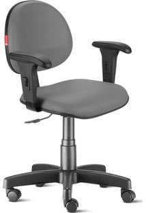 Cadeira Escritório Cinza Escuro Com Braços Executiva