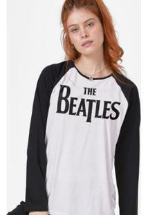 Camiseta Feminina Manga Longa The Beatles Logo - Feminino-Branco+Preto