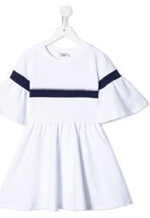 Monnalisa Vestido Esporitvo Com Acabamento De Listras - Branco