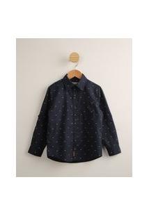 Camisa Infantil Estampada Mini Triângulos Com Bolso Manga Longa Azul Marinho