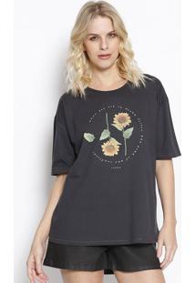 "Camiseta ""Sunflower"" - Cinza Escuro & Amarela - Sommsommer"
