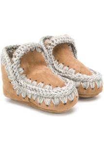 Mou Kids Knitted Trim Boots - Marrom