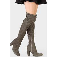 592b6fed5862f Bota Couro Over The Knee Dumond Salto Grosso Feminina - Feminino-Cinza
