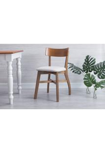Cadeira Para Cozinha Estofada Bella - Amêndoa E Courino Offwhite Tec. A103 - 44X51X82 Cm
