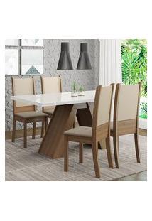 Conjunto Sala De Jantar Madesa Dafne Mesa Tampo De Vidro Com 4 Cadeiras Rustic/Branco/Crema/Bege Cor:Rustic/Branco/Crema/Bege