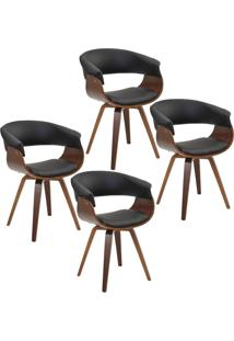 Kit 04 Cadeiras Giratã³Ria Decorativa Para Escritã³Rio Home Office Ohana Pu Preto - Gran Belo - Preto - Dafiti
