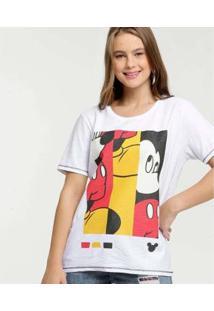 Camiseta Estampa Mickey Disney Brilho Feminina - Feminino-Branco