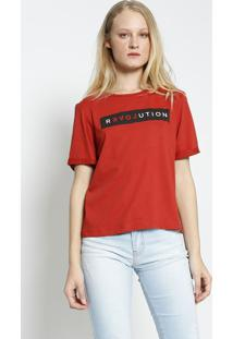 """Camiseta """"Revolution"""" Com Amarraã§Ã£O - Vermelha & Preta"""