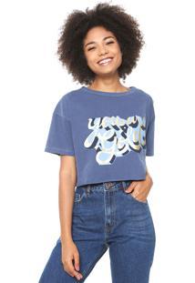 Camiseta Cropped Oh Boy Estampada Azul