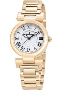 Relógio Analógico Jv01066- Rosê Gold & Branco- Jean Jean Vernier