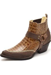 Bota Top Franca Shoes Country Bico Fino Anaconda Masculina - Masculino-Caramelo