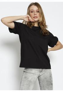 Camiseta Lisa Com Tag - Preta - Colccicolcci