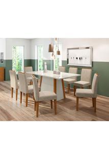 Conjunto De Mesa De Jantar Com Tampo De Vidro Júlia E 8 Cadeiras Ana Animalle Off White E Cinza