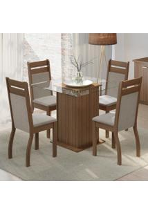 Conjunto Sala De Jantar Madesa Nice Mesa Tampo De Vidro Com 4 Cadeiras Marrom - Marrom - Dafiti