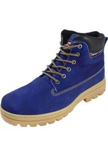 Bota Atron Shoes Adventure Ride Work Em Couro Azul - Kanui