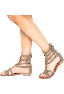 Rasteira Dafiti Shoes Gladiadora Marrom Claro