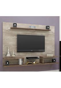 Painel Para Tv 65 Polegadas Itaparica Champanhe E Chocolate 182 Cm