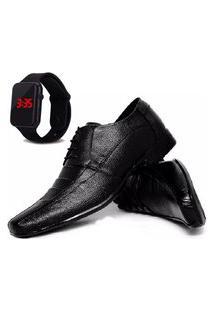 Sapato Social Glamour Com Relógio Led Dubuy 901Od Preto