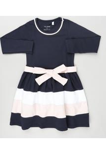 Vestido Infantil Com Faixa Manga Longa Azul Marinho